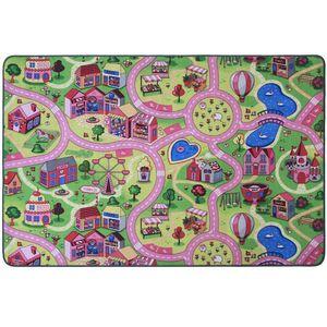 Spielteppich Kinderteppich mit Straßen Sweet City - Rosa, 160x200cm, Pflegeleichter Kinderzimmer-Teppich für Mädchen