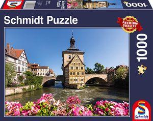 Schmidt Spiele 58397 - Puzzle Standard 1.000 Teile - Bamberg, Regnitz und Altes Rathaus