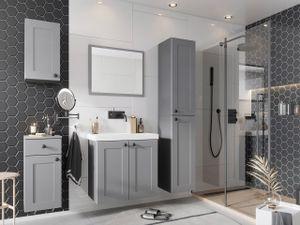 Mirjan24 Badmöbel-Set Senja, Badezimmer-Set mit Spiegel und Waschbecken, Klassisch (Farbe: Grau)