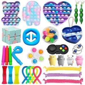 30 Stück / Set Push Bubble Fidget Antistress Toys Erwachsene Kinder Pop Fidget Sensory Toy