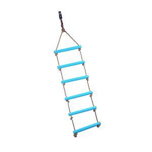 2M Strickleiter mit sechs Prossen, Kinder Kletterspielzeug für Indoor & Outdoor, belastbar bis ca. 120kg, Blau