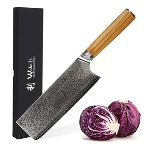 Wakoli Oribu I Nakirimesser 18 cm extrem scharfe Klinge aus 67 Lagen I Profi Küchenmesser mit Griff aus Olivenholz