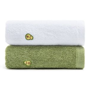 2 Baumwolltücher, weich, saugfähig und schnell trocknend, Avocado dickes großes Handtuch für Erwachsene 35 * 75 cm
