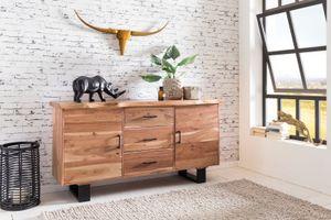 Sideboard GAYA 160 x 84 x 46 cm Massiv-Holz Akazie Natur