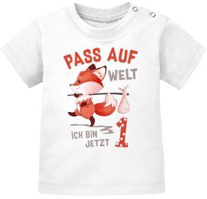 Baby T-Shirt 1. Geburtstag Pass auf Welt ich bin jetzt 1 Fuchs Geburtstagsshirt kurzarm Baumwolle MoonWorks® 1 weiß 80/86 (10-15 Monate)