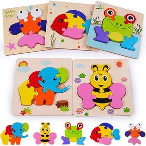 Holzpuzzle 3D Steckpuzzle Holzspielzeug, Montessori Spielzeug Lernspielzeug Tierpuzzle Frühpädagogisches Vorschulspielzeug, Bestes Geburtstagsgeschenk für 3 4 5+ Jahre (5 Pack)