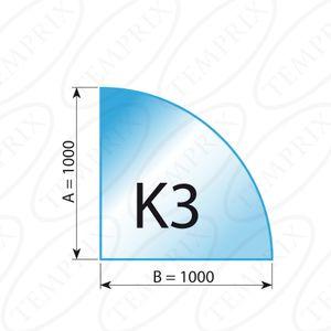 Kaminbodenplatte Transparent Form K3  1000 x 1000 x 6mm - Version ECO (Tragkraft bis 550 Kg)