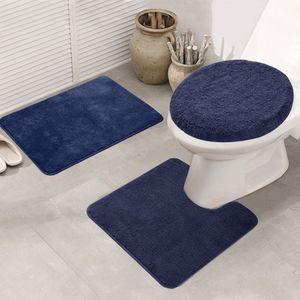 Topchances Duschvorhang Badezimmermatten-Set 3-teilig,Badematten rutschfeste badematte Bad küche Carpet fußmatten Decor Teppich (Navy blau, 50 x 80 cm)