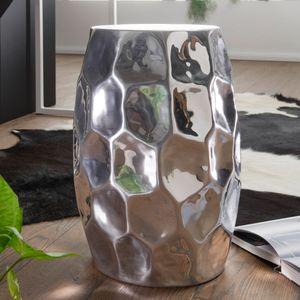 WOHNLING Beistelltisch JADA 30x47x30cm Aluminium Silber Dekotisch orientalisch rund | Kleiner Hammerschlag Abstelltisch | Designer Ablagetisch Metall modern | Anstelltisch schmal