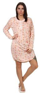 Damen Nachthemd Sleepshirt Nachtwäsche mit Muster, Aprikose L