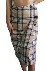 SET Damen Rock Karo-Muster Beige Gr. 38  Skirt A Linie #KK20a