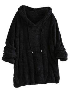 Damen Warm Fleece Kapuzenpullover Pullover Sweatshirt Sweater Plüsch Pulli,Farbe: Schwarz,Größe:XXL