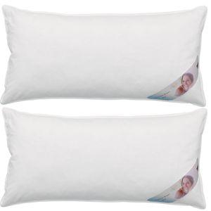 Kopfkissen Premium Dreikammerkissen – Kissen mit hochwertiger Federn & Daunen Füllung und Bezug aus 100% Baumwolle 2er Set 40 x 80 cm