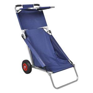 vidaXL Strandwagen mit Rädern Tragbar Klappbar Blau
