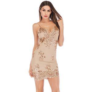 Neue Sexy Frauen Pailletten Bodycon Spaghetti Strap Kleid Tiefem V-ausschnitt Backless Night Club Party Kleid Schwarz / GoldXL