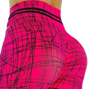 Frauen 3D Wassertropfen Print Hohe Taille Hueftheben Leggings Slim Fit Yogahose Rote Linie * XL