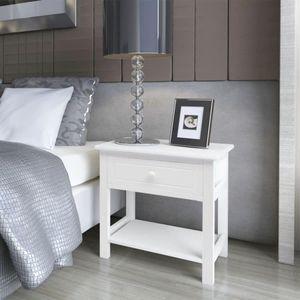 【Neu】Nachttische Nachttisch Holz Weiß Gesamtgröße:40 x 29 x 42 cm BEST SELLER-Möbel-Tische-Nachttische im Landhaus-Stil