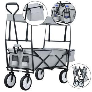 Juskys Bollerwagen faltbar mit Dach und Tasche | Gummiräder | Stoff schmutzabweisend | Handwagen bis 80 kg belastbar | grau