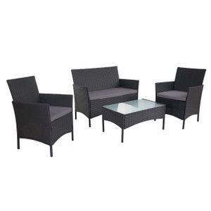 2-1-1 Poly-Rattan Garten-Garnitur Halden, Sitzgruppe Lounge-Set Sofa  anthrazit, Kissen anthrazit