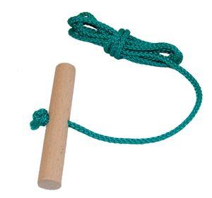 Schlittenseil mit Holzgriff aus Buchenholz GRÜN