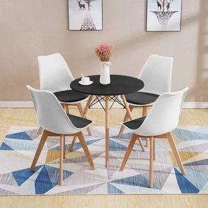 Esstisch mit 4 Stühlen Esszimmer Essgruppe(Runde)70x70x75cm lässiger Tisch |Kunstleder Essensstuhl