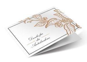 Friendly Fox Danksagungskarten Trauer mit Umschlag - 12 Trauerkarten mit Umschlag - Karten Set mit dezentem Muster - Danke Karte nach Beerdigung
