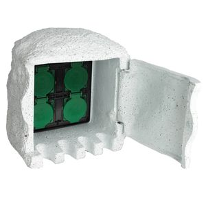 vidaXL Gartensteckdose 4-fach Wasserdicht Kunstharz Weiß