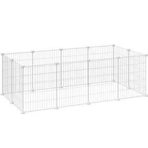 SONGMICS Kleintierkäfig mit Laufgitter aus Metall 143 x 73 x 36 cm für den Innenbereich für Kleintiere individuell zusammenbaubar weiß LPI01W