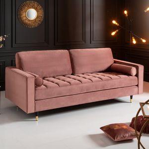 Elegantes Design 3er Sofa COZY VELVET 225cm altrosa Samt Federkern