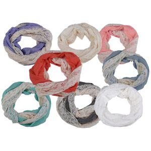 Damen Loop Schal mit Spitze, verschiedene Farben, Farbe:Hellgrau