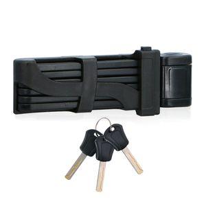DUNLOP Fahradschloss, Scooter-Schloss aus gehärtetem Metall, Faltschloss, Rahmenschloss mit 3 Schlüsseln, 85 cm, Schwarz