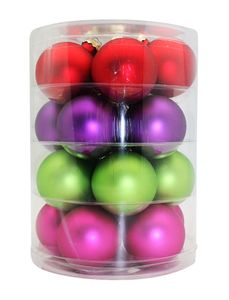 Weihnachtskugeln Glas 6cm, 20 Stück, Farbe:Happy Xmas ( lila / grün / rot / fuchsia / magenta )