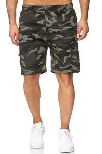 Herren Bermuda Cargo Shorts kurze Capri Sommer Hose Freizeit Basic, Farben:Camouflage-2, Größe Shorts:M