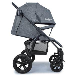 Daliya® Variyo Buggy Kinderwagen Jogger XXl Sonnenverdeck Lederbezug Kautschuk Hartgummi Räder (Set 00, Dunkel Grau)…