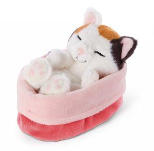 Nici 47140 Sleeping Kitties schlafende Katze im Körbchen 12cm Plüsch Glückskatze