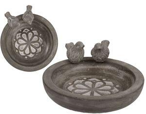 Vogeltränke Vogelbad Wassertränke für Vögel Steingut Rund mit zwei Vögeln 1 Stück