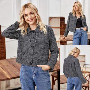 Damen Damen Warm V-Ausschnitt Button Faux Coat Jacke Winter Kurze Kleidung Oberbekleidung Größe:XL,Farbe:Bunt