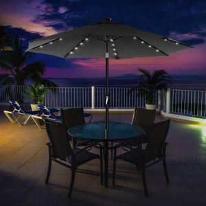 SONGMICS Sonnenschirm mit LED-Solar-Beleuchtung, Gartenschirm Ø 270 cm, UV-Schutz bis UPF 50+, knickbar, mit Kurbel zum Öffnen und Schließen, ohne Ständer, grau GPU040G01