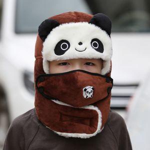 Braun Kinder Winter Mütze Mit Atemventil + Ohrenklappen Trapper Hut Plüsch Wärmerer Lei Feng Kappe Kältesicher Skimütze