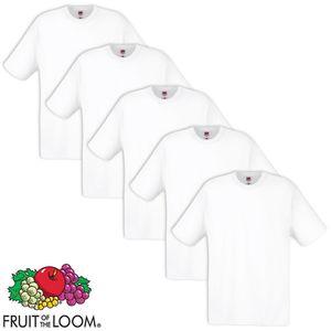 Fruit of the Loom 5 x  Original T-Shirt 100% Baumwolle Weiß L