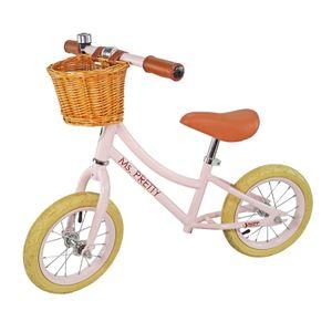 Best Sporting Laufrad Retro für Kinder ab 3 Jahren, mit Klingel und Korb, 12 Zoll Räder, Farbe:rosé
