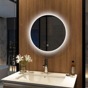 Meykoers Badezimmerspiegel Rund 50cm Durchmesser LED Badspiegel mit Touch Schalter mit 3 Lichtfarbe 3000-6500K Lichtspiegel Badezimmerspiegel mit Touchschalter IP44 energiesparend A++