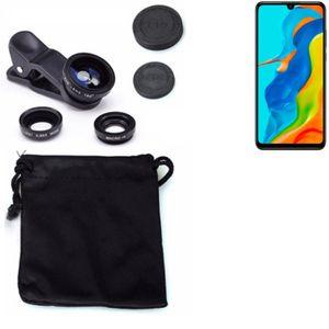 Kompatibel mit Huawei P30 lite New Edition 3in1 Clip-On Kamera Adapter für Huawei P30 lite New Edition Macro Weitwinkel FishEye Fischauge Objektiv
