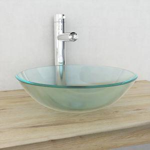 Waschbecken Waschtrog Ausgussbecken Hartglas 42 cm Mattiert