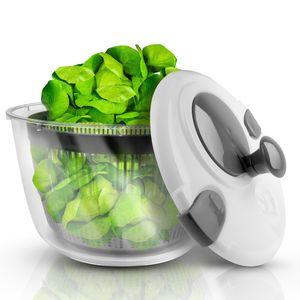 Lacari ® Salatschleuder mit großem Fassungsvermögen - Neuartiges Design mit Ablaufsieb - Einfaches Bedienen durch Drehen der Kurbel - GRATIS EBook