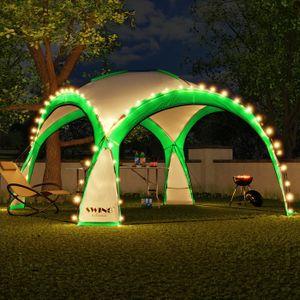 LED Event Pavillon 3,6 x 3,6m DomeShelter Garten Pavillion inkl. Solarmodul Pavilion Designer Gartenzelt Camping Pavilon Partyzelt mit Beleuchtung - grün