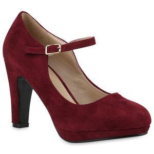Mytrendshoe Damen Pumps Mary Janes Blockabsatz High Heels T-Strap 814325, Farbe: Dunkelrot, Größe: 37