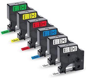 UniPlus 6x Kompatibel D1 Schriftband als Ersatz für Dymo D1 45013 45010 45016 45017 45018 45019 für Dymo LabelManager 160 220P 280 360D 420P 500TS Labelpoint 250 150 LabelWriter 450 DUO, 12mm x 7m