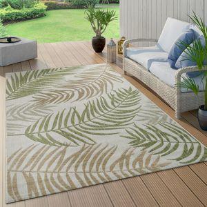 In- & Outdoor Teppich Flachgewebe Modern Jungle Palmen Design In Pastell Grün, Grösse:80x150 cm
