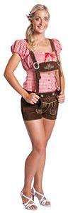 FROHSINN Damen Trachten Lederhose Gr. 38 kurz, 100% Leder, Kurze Trachtenlederhose für Oktoberfest - Aktuelles 2020 Modell